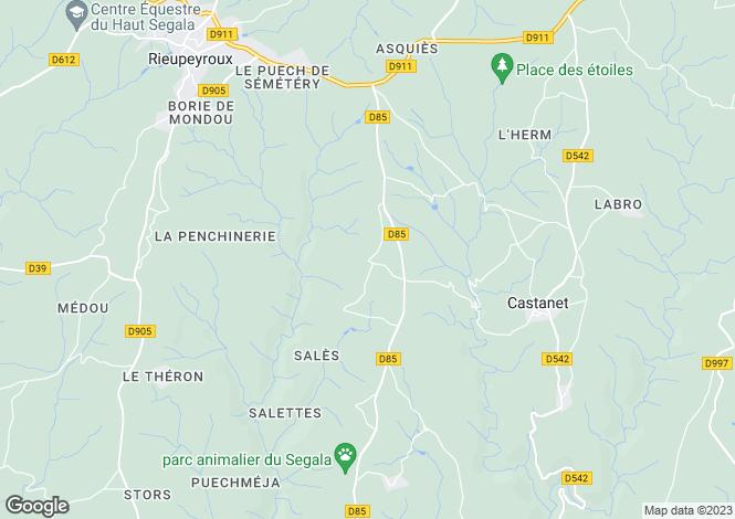 Map for Midi-Pyrénées, Aveyron, Castanet