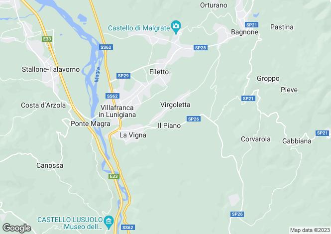 Map for Tuscany, Lunigiana, Villafranca in Lunigiana