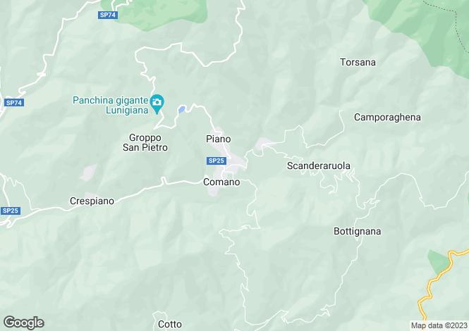 Map for Tuscany, Lunigiana, Comano