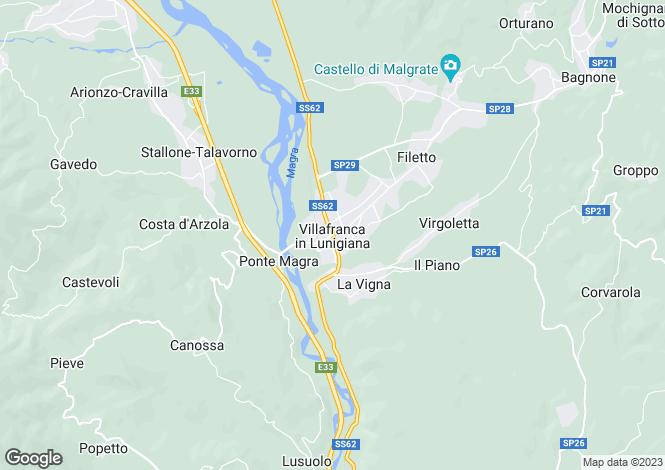 Map for Villafranca in Lunigiana, Lunigiana, Italy