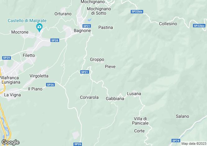 Map for Bagnone, Lunigiana, Tuscany
