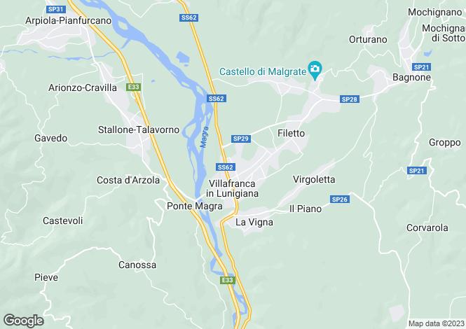Map for Villafranca in Lunigiana, Lunigiana, Tuscany