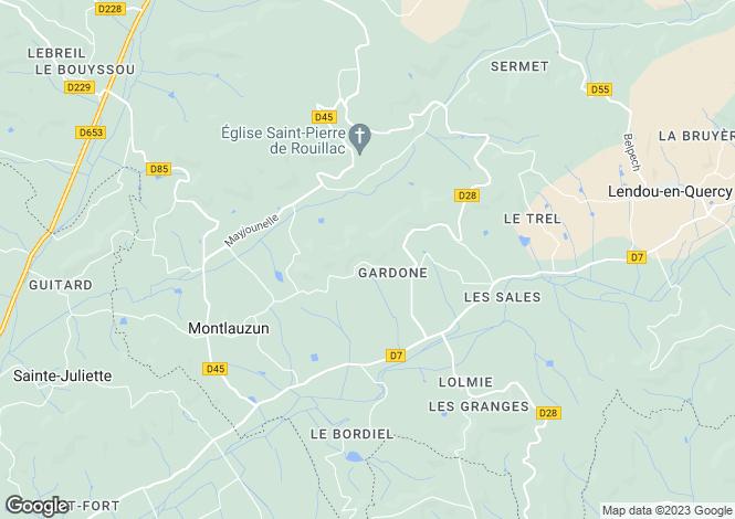 Map for montlauzun, Lot, France