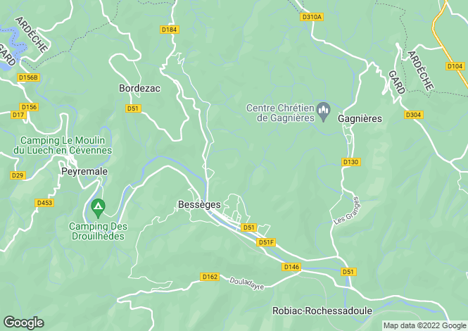 Map for Languedoc-Roussillon, Gard, Bessèges