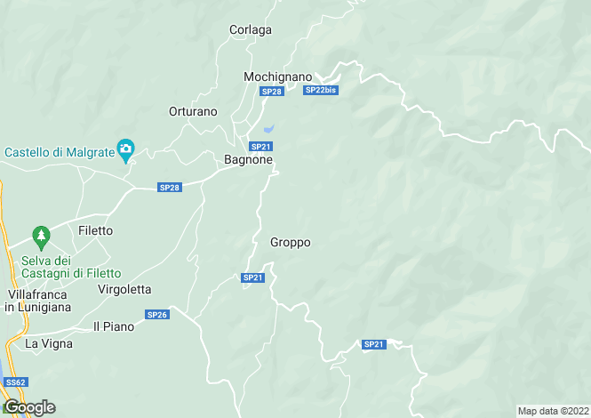 Map for Bagnone, Lunigiana, Italy