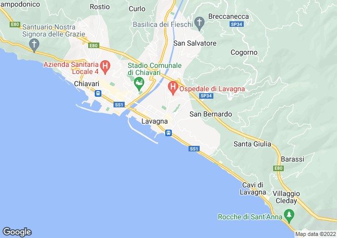 Map for Lavagna, Genoa, Liguria