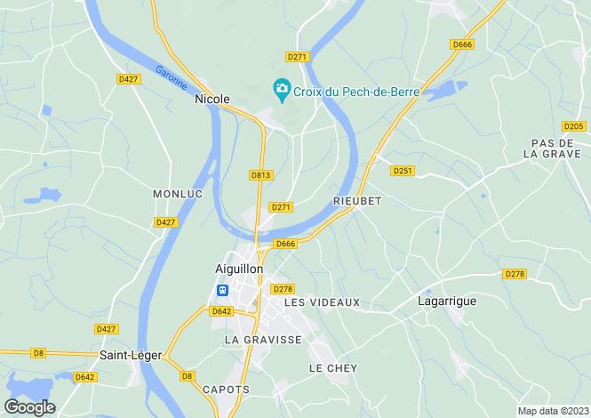 Map for Aquitaine, Lot-et-Garonne, Aiguillon