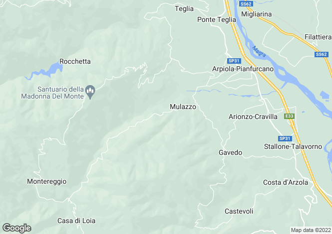 Map for Mulazzo, Lunigiana, Italy