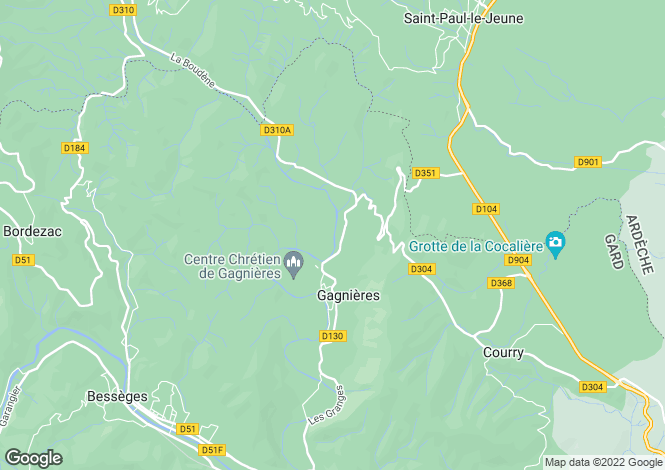 Map for gagnières, Gard, France