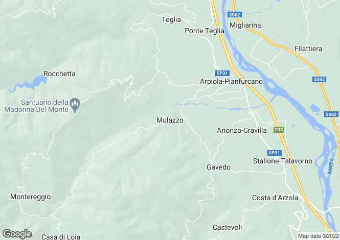 Map for Mulazzo, Lunigiana, Italy