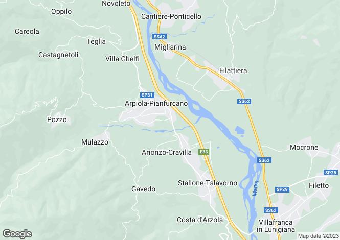 Map for Mulazzo, Lunigiana, Tuscany
