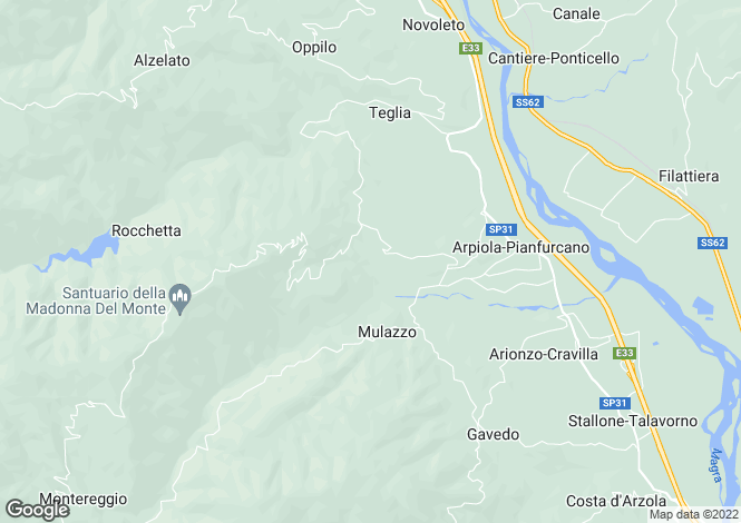 Map for Mulazzo, Lunigiana, Tuscany