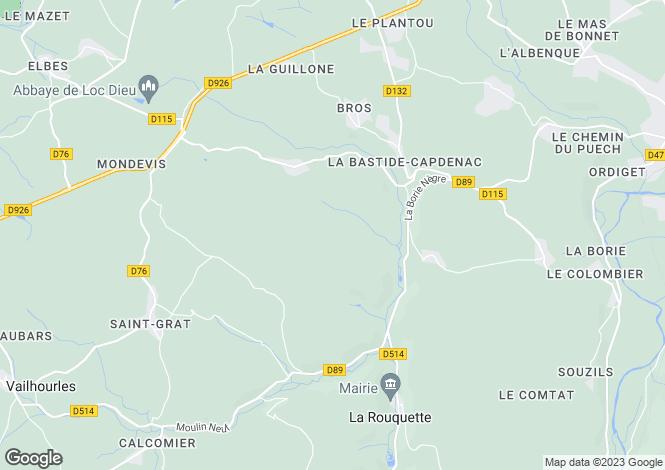 Map for Midi-Pyrenees, Aveyron, La Rouquette