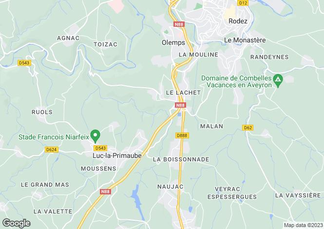 Map for Midi-Pyrenees, Aveyron, Livinhac-le-Haut