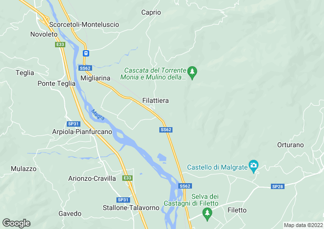 Map for Filattiera, Lunigiana, Tuscany