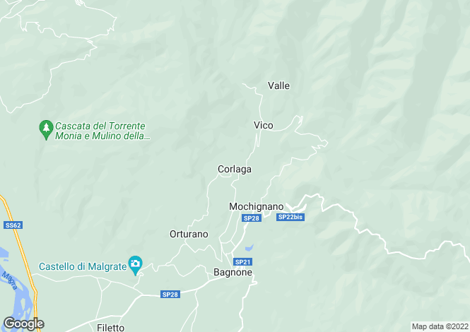 Map for Tuscany, Lunigiana, Bagnone