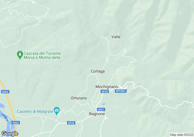 Map for Tuscany, Lunigiana, Bagnone