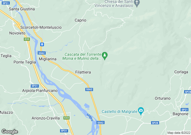Map for Tuscany, Lunigiana, Filattiera