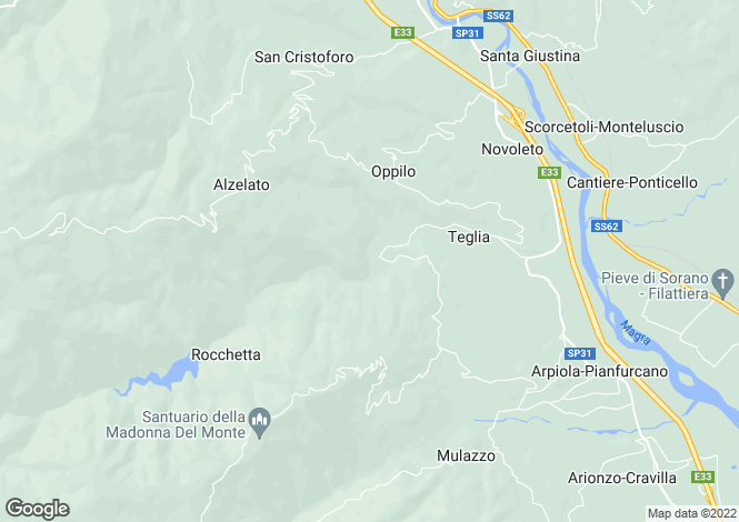 Map for Tuscany, Lunigiana, Mulazzo