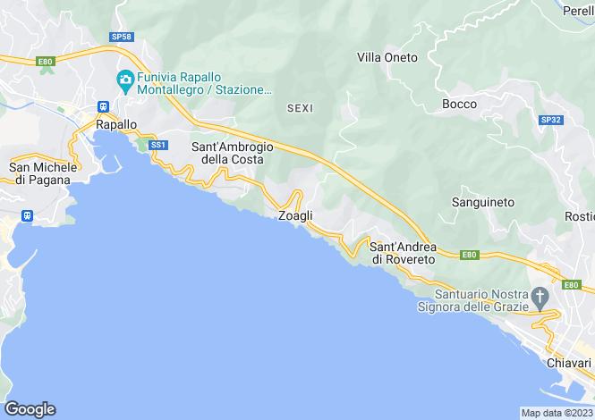 Map for Liguria, Genoa, Zoagli