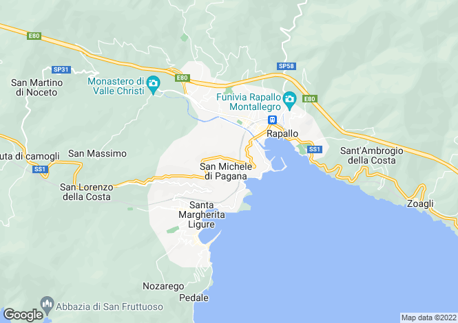 Map for Rapallo, Genoa, Liguria