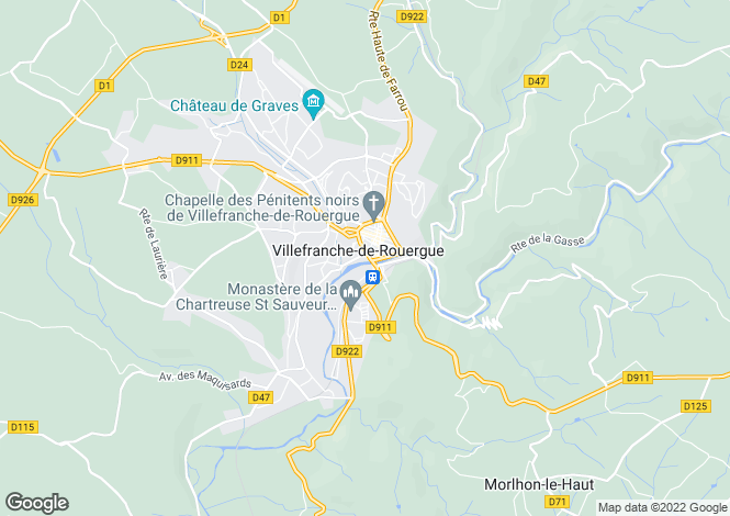 Map for Proche/Near Villefranche-de-Rouergue, Aveyron