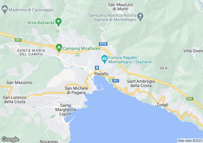 Map for Rapallo, Liguria, Italy