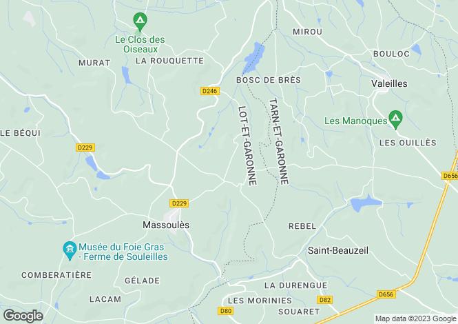 Map for massoules, Lot-et-Garonne, France