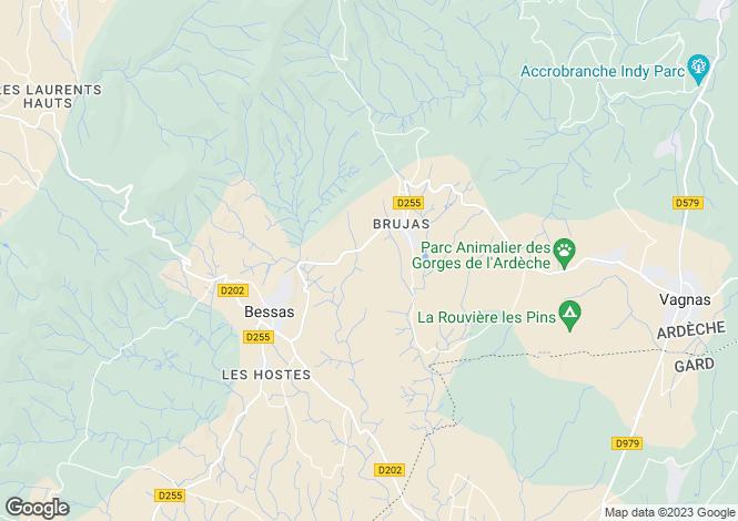 Map for bessas, Ardèche, France