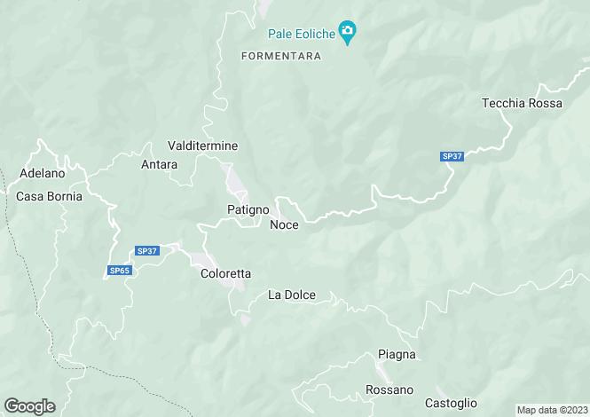 Map for Tuscany, Lunigiana, Zeri