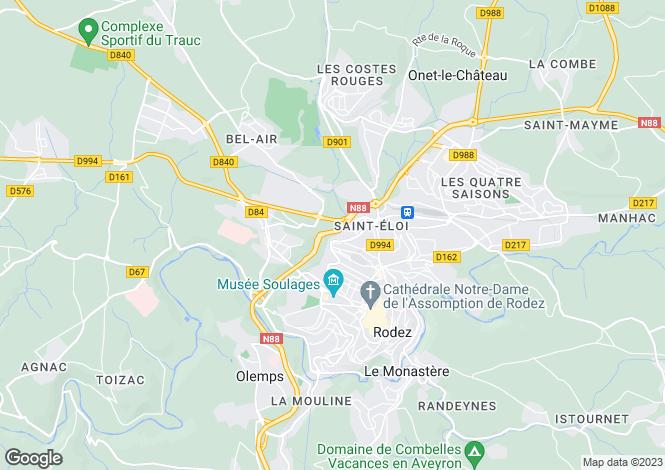 Map for Midi-Pyrenees, Aveyron, Rodez
