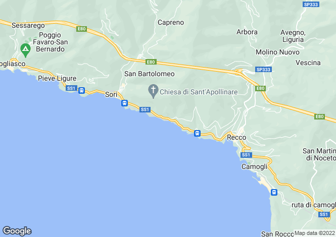 Map for Liguria, Genoa, Sori