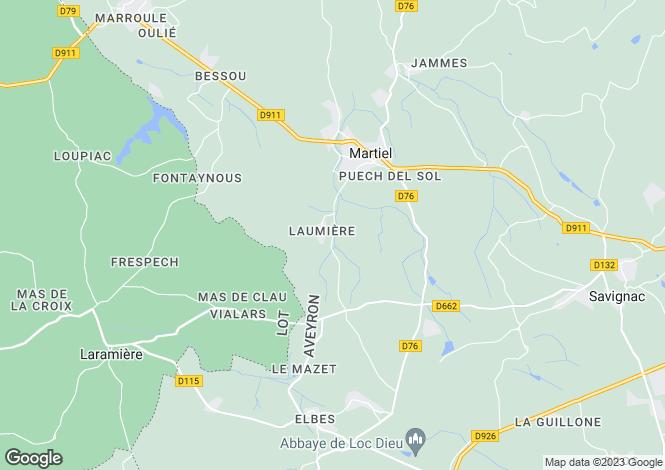 Map for Midi-Pyrenees, Aveyron, Martiel