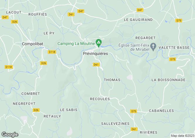 Map for Midi-Pyrenees, Aveyron, Prévinquières