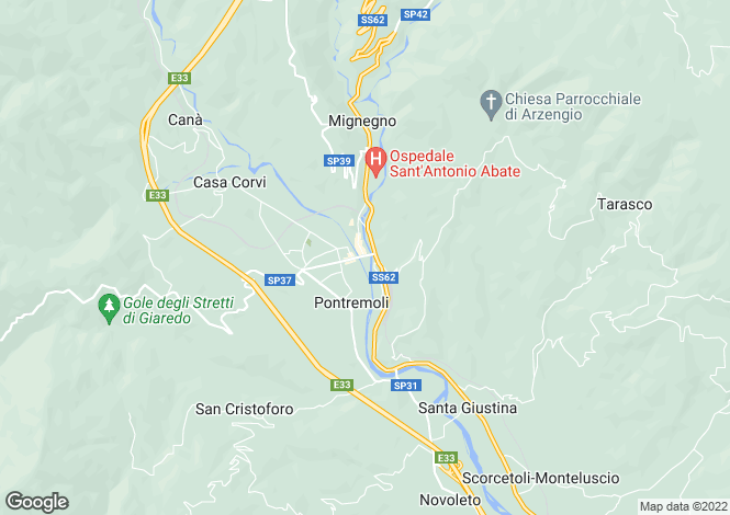 Map for Pontremoli, Lunigiana, Tuscany