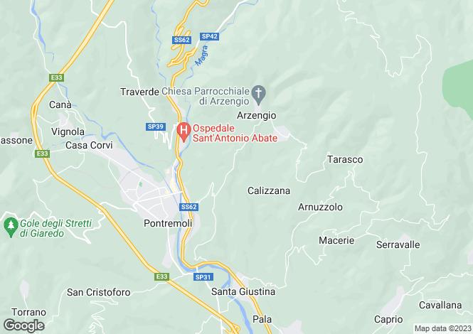 Map for Pontremoli, Lunigiana, Italy