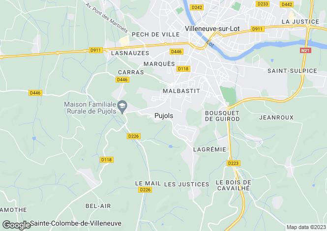 Map for Secteur: Pujols, Lot-et Garonne