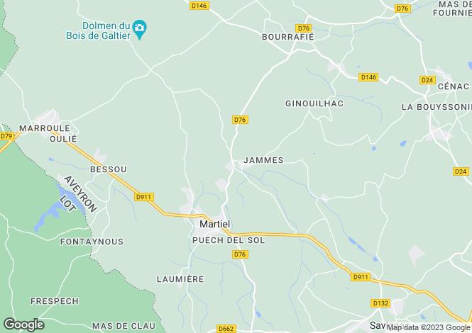 Map for Martiel, Aveyron, Midi-Pyrénées