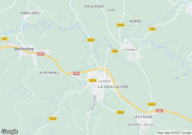 Map for Midi-Pyrenees, Aveyron, Laissac