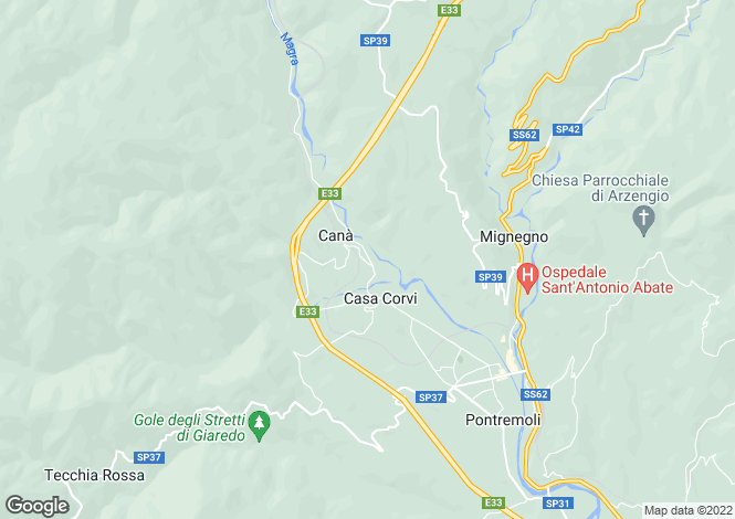 Map for Pontremoli, Lunigiana, Tuscany