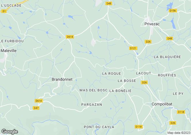 Map for Midi-Pyrénées, Aveyron, Maleville