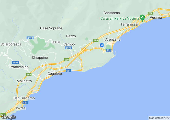 Map for Arenzano, Genoa, Liguria