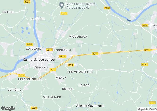 Map for Aquitaine, Lot-et-Garonne, Allez-et-Cazeneuve