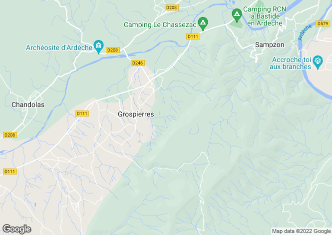 Map for grospierres, Ardèche, France