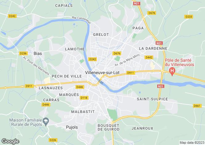 Map for Villeneuve-sur-Lot, Lot et Garonne, 47300, France