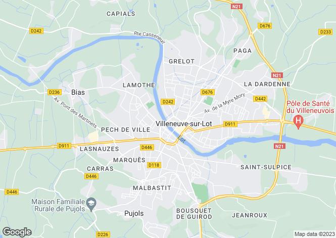 Map for Villeneuve-sur-Lot, Lot-et-Garonne, Aquitaine