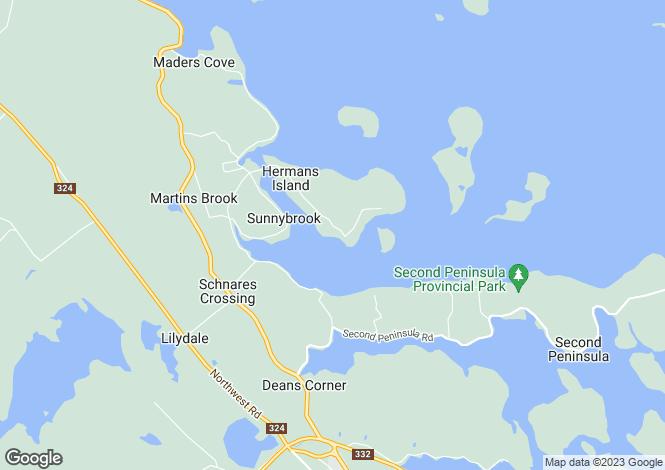 Map for Mahone Bay, Nova Scotia