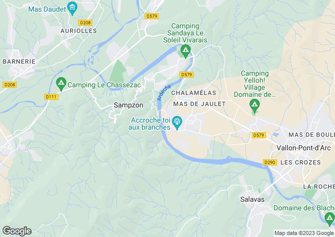 Map for Vallon-Pont-d`Arc, Ardèche, Rhone Alps