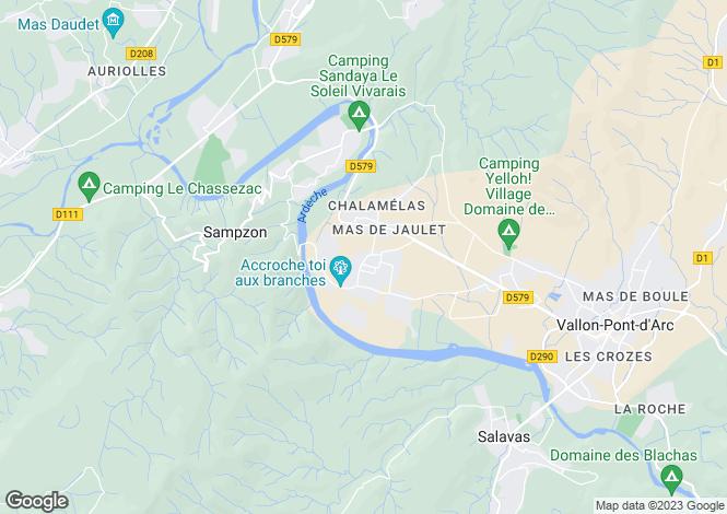 Map for Rhone Alps, Ardèche, Vallon-Pont-d`Arc
