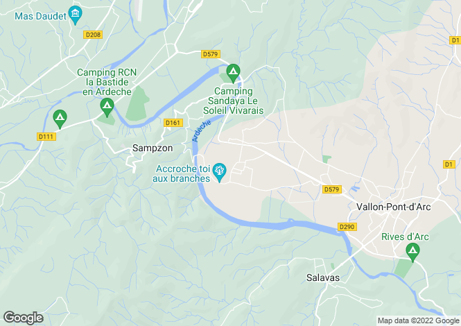 Map for Rhone Alps, Ardèche, Vallon-Pont-d`Arc